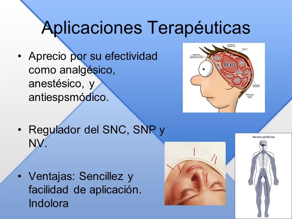 Aplicaciones Terapéuticas Aprecio por su efectividad como analgésico, anestésico, y antiespsmódico. Regulador del SNC, SNP y NV. Ventajas: Sencillez y