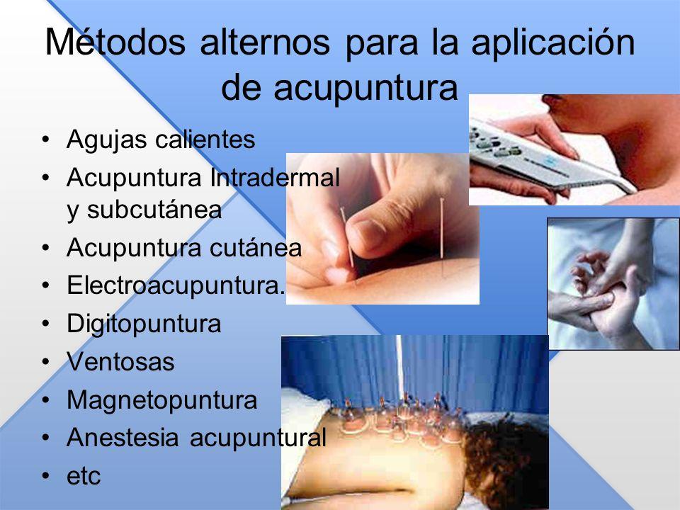 Métodos alternos para la aplicación de acupuntura Agujas calientes Acupuntura Intradermal y subcutánea Acupuntura cutánea Electroacupuntura. Digitopun