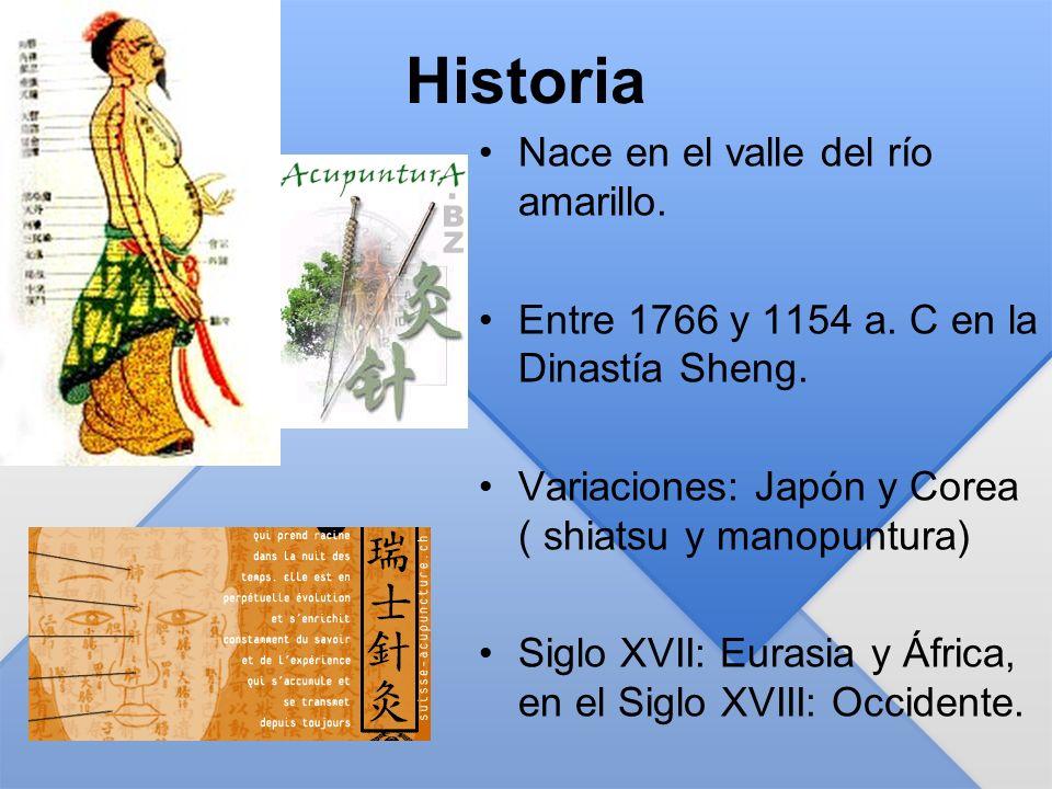Historia Nace en el valle del río amarillo. Entre 1766 y 1154 a. C en la Dinastía Sheng. Variaciones: Japón y Corea ( shiatsu y manopuntura) Siglo XVI