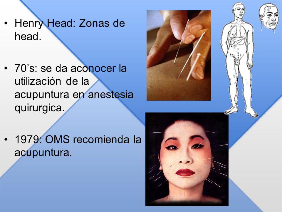 Henry Head: Zonas de head. 70s: se da aconocer la utilización de la acupuntura en anestesia quirurgica. 1979: OMS recomienda la acupuntura.