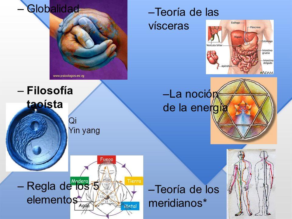 –Teoría de las vísceras –La noción de la energía –Teoría de los meridianos* –Globalidad –Filosofía taoísta –Regla de los 5 elementos Qi Yin yang