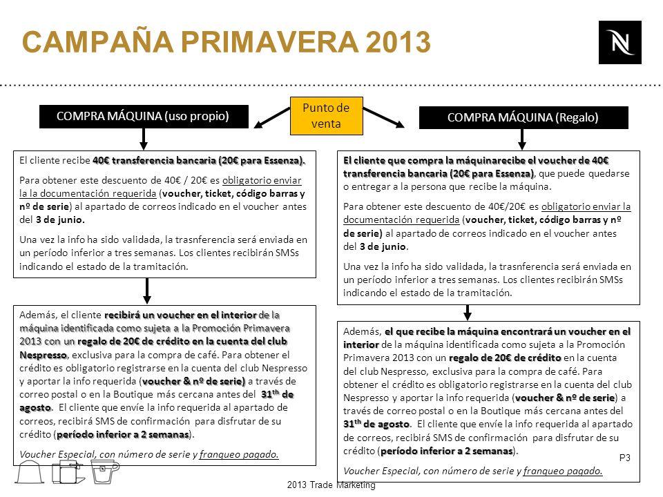 P3 CAMPAÑA PRIMAVERA 2013 Punto de venta COMPRA MÁQUINA (uso propio) 40 transferencia bancaria (20 para Essenza).