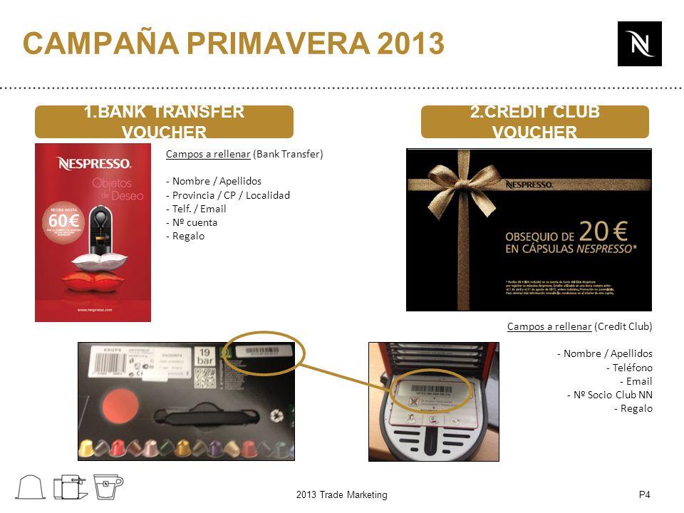 P4 1.BANK TRANSFER VOUCHER 2.CREDIT CLUB VOUCHER Campos a rellenar (Bank Transfer) - Nombre / Apellidos - Provincia / CP / Localidad - Telf.