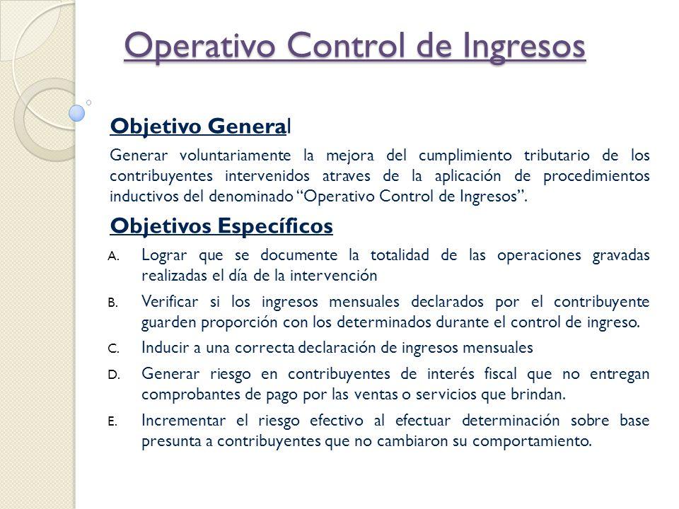 Operativo Control de Ingresos Objetivo General Generar voluntariamente la mejora del cumplimiento tributario de los contribuyentes intervenidos atrave