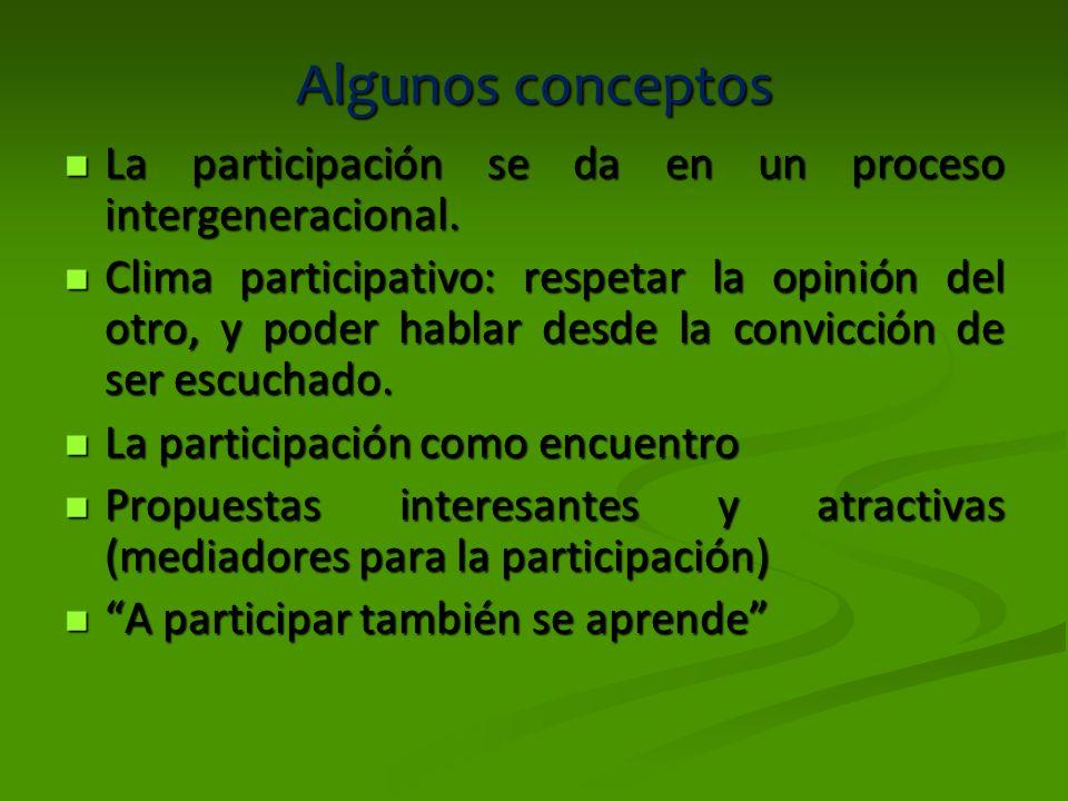 Algunos conceptos La participación se da en un proceso intergeneracional. La participación se da en un proceso intergeneracional. Clima participativo:
