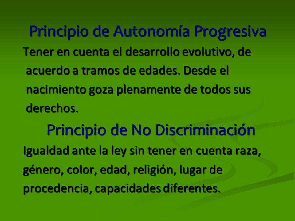 Principio de Autonomía Progresiva Tener en cuenta el desarrollo evolutivo, de acuerdo a tramos de edades. Desde el acuerdo a tramos de edades. Desde e