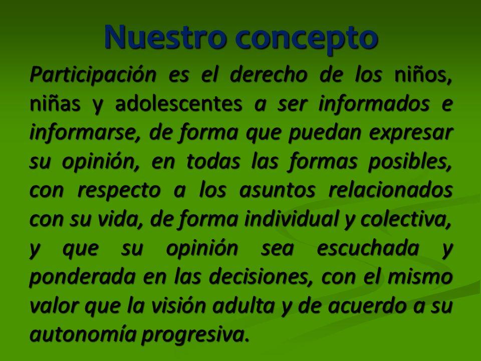 Participación La participación como Derecho y Principio.