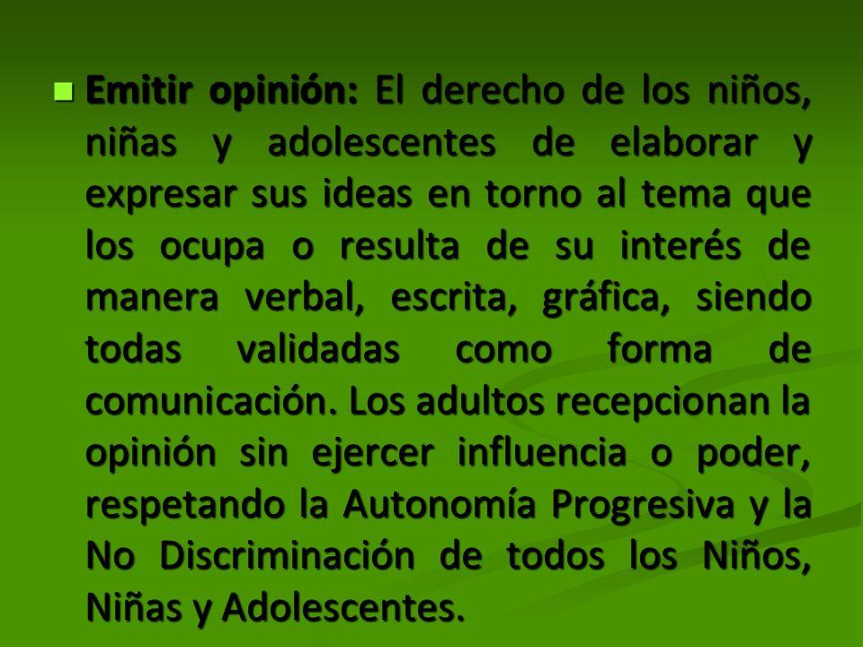 Emitir opinión: El derecho de los niños, niñas y adolescentes de elaborar y expresar sus ideas en torno al tema que los ocupa o resulta de su interés