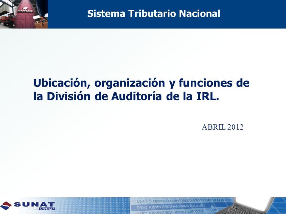 Ubicación, organización y funciones de la División de Auditoría de la IRL. ABRIL 2012 Sistema Tributario Nacional