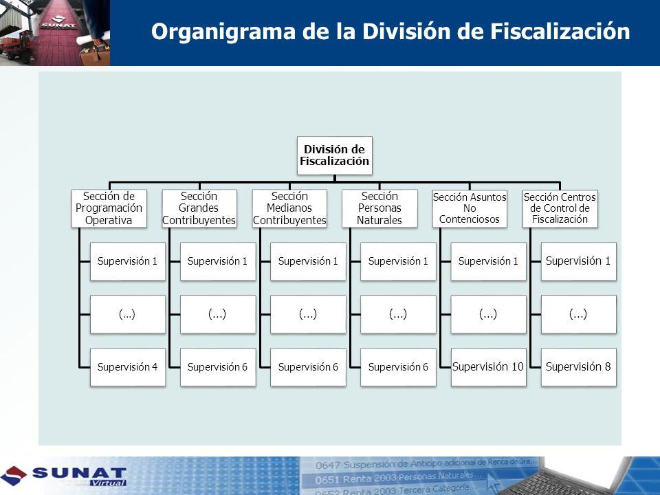 Organigrama de la División de Fiscalización División de Fiscalización Sección de Programación Operativa Supervisión 1 (…) Supervisión 4 Sección Grande