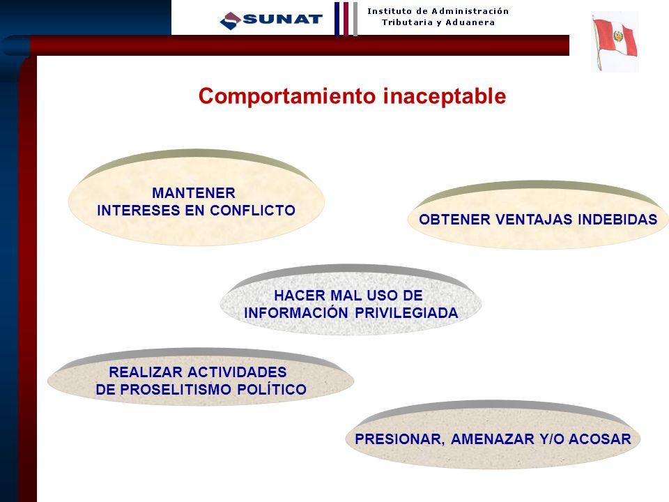 10 MANTENER INTERESES EN CONFLICTO OBTENER VENTAJAS INDEBIDAS HACER MAL USO DE INFORMACIÓN PRIVILEGIADA REALIZAR ACTIVIDADES DE PROSELITISMO POLÍTICO