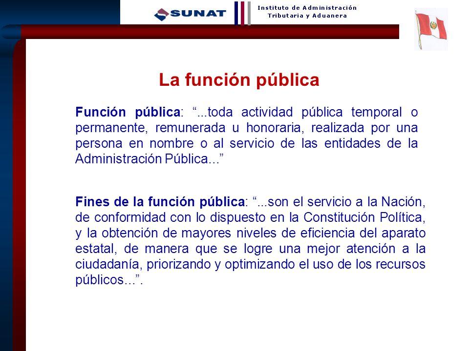 5 La función pública Función pública:...toda actividad pública temporal o permanente, remunerada u honoraria, realizada por una persona en nombre o al