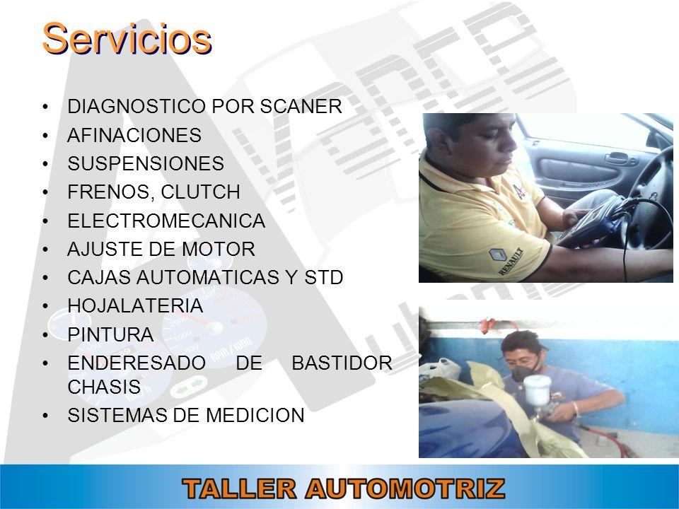 Servicios DIAGNOSTICO POR SCANER AFINACIONES SUSPENSIONES FRENOS, CLUTCH ELECTROMECANICA AJUSTE DE MOTOR CAJAS AUTOMATICAS Y STD HOJALATERIA PINTURA E