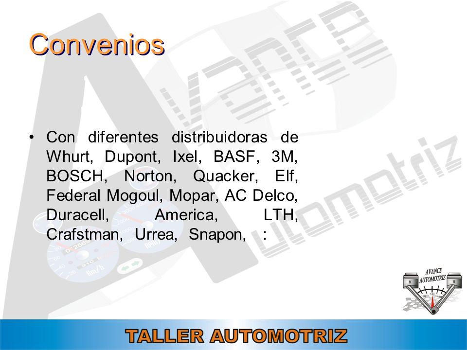 Convenios Con diferentes distribuidoras de Whurt, Dupont, Ixel, BASF, 3M, BOSCH, Norton, Quacker, Elf, Federal Mogoul, Mopar, AC Delco, Duracell, Amer