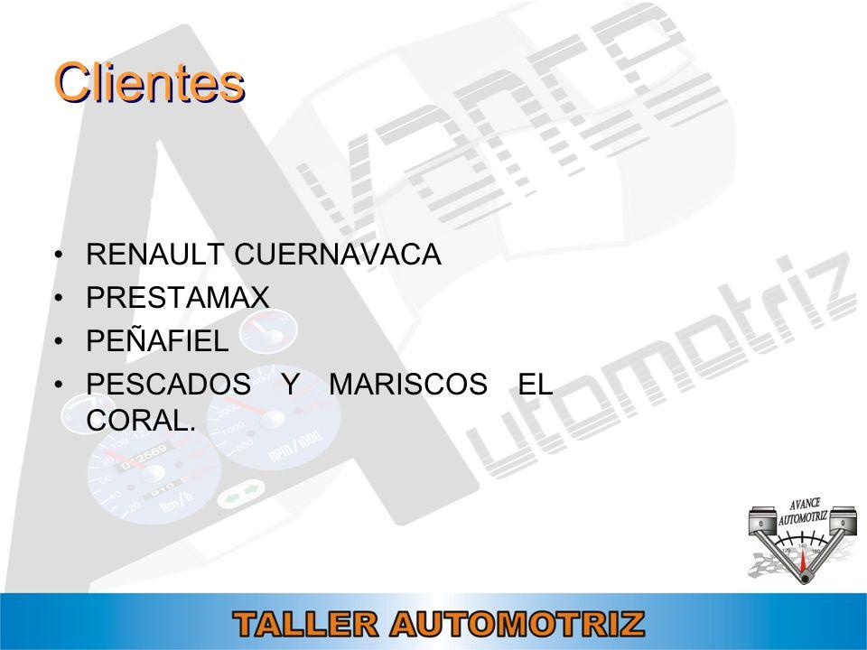 Clientes RENAULT CUERNAVACA PRESTAMAX PEÑAFIEL PESCADOS Y MARISCOS EL CORAL.