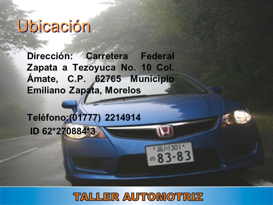 Ubicación Dirección: Carretera Federal Zapata a Tezoyuca No. 10 Col. Ámate, C.P. 62765 Municipio Emiliano Zapata, Morelos Teléfono:(01777) 2214914 ID