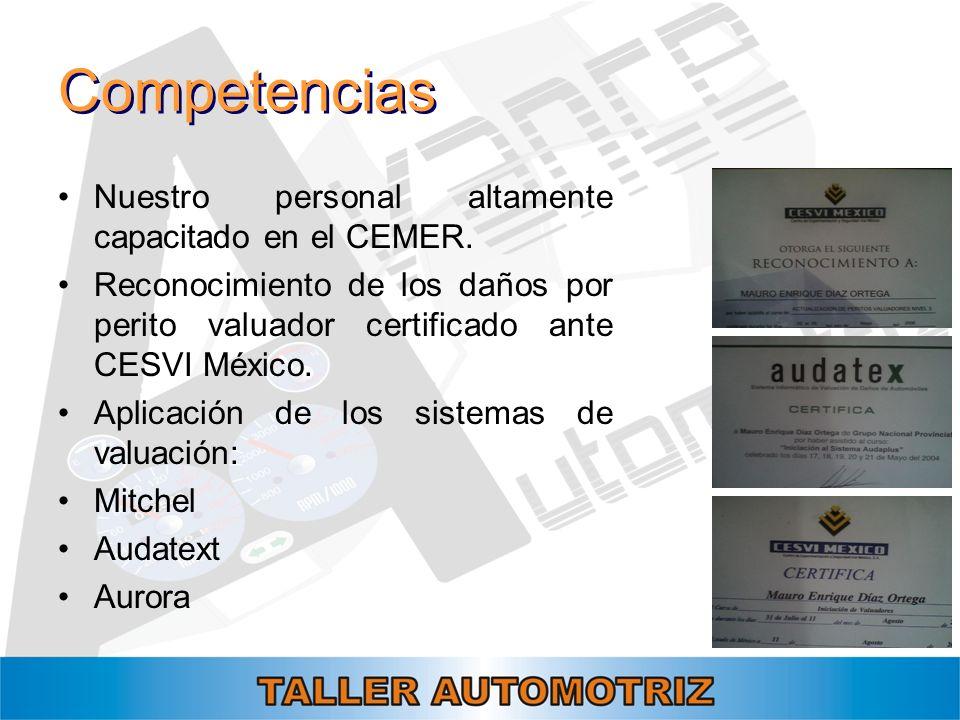Competencias Nuestro personal altamente capacitado en el CEMER. Reconocimiento de los daños por perito valuador certificado ante CESVI México. Aplicac