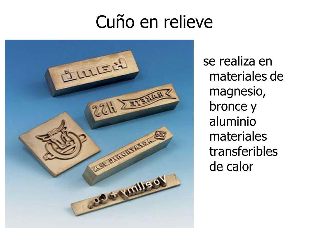 Cuño en relieve se realiza en materiales de magnesio, bronce y aluminio materiales transferibles de calor