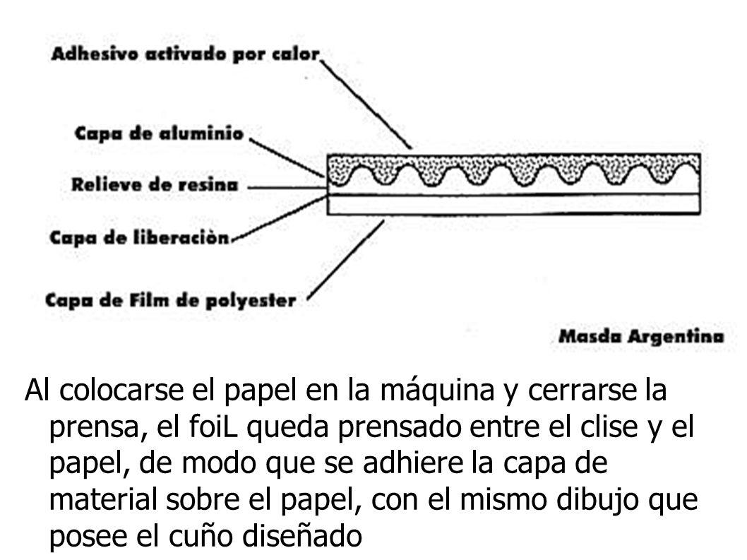 Al colocarse el papel en la máquina y cerrarse la prensa, el foiL queda prensado entre el clise y el papel, de modo que se adhiere la capa de material