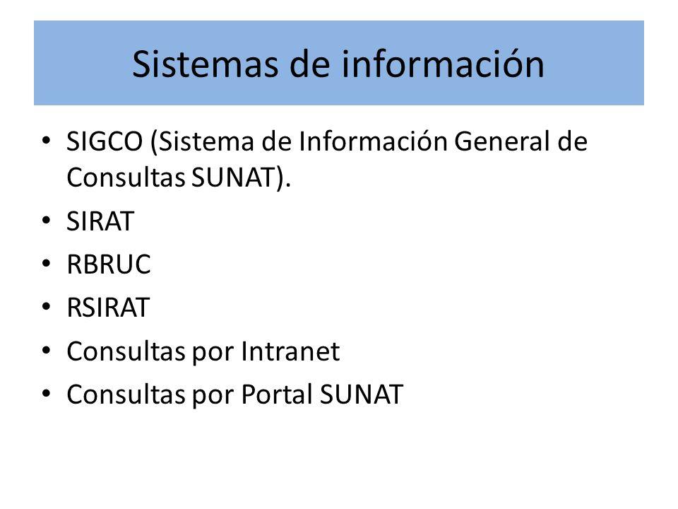 Sistemas de información SIGCO (Sistema de Información General de Consultas SUNAT). SIRAT RBRUC RSIRAT Consultas por Intranet Consultas por Portal SUNA