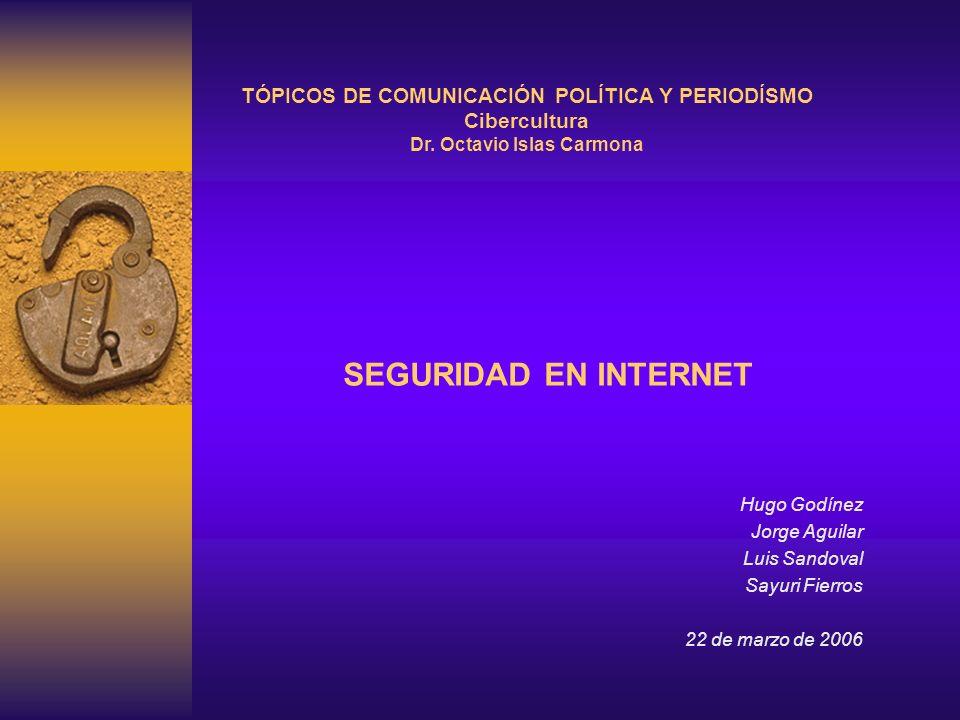 SEGURIDAD EN INTERNET Hugo Godínez Jorge Aguilar Luis Sandoval Sayuri Fierros 22 de marzo de 2006 TÓPICOS DE COMUNICACIÓN POLÍTICA Y PERIODÍSMO Ciberc