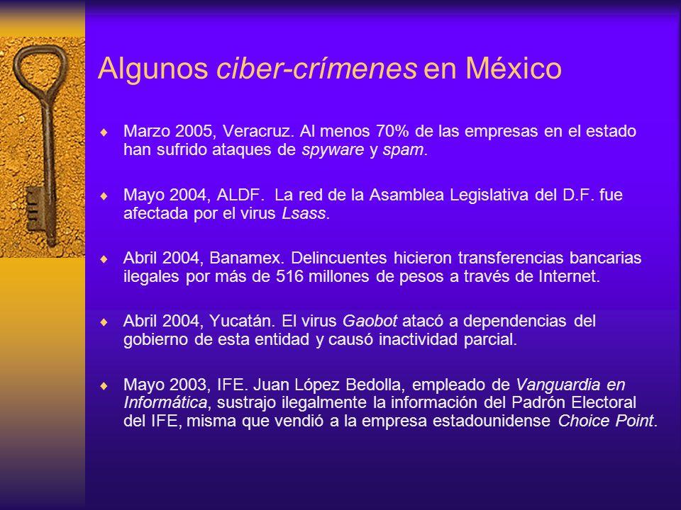 Algunos ciber-crímenes en México Marzo 2005, Veracruz. Al menos 70% de las empresas en el estado han sufrido ataques de spyware y spam. Mayo 2004, ALD