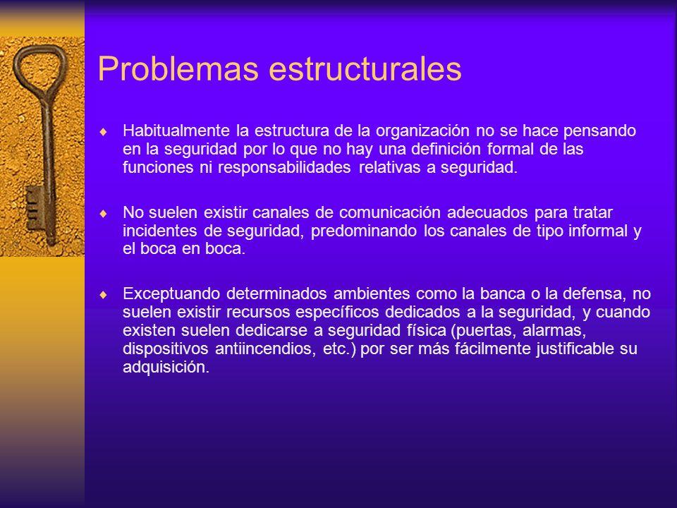 Problemas estructurales Habitualmente la estructura de la organización no se hace pensando en la seguridad por lo que no hay una definición formal de