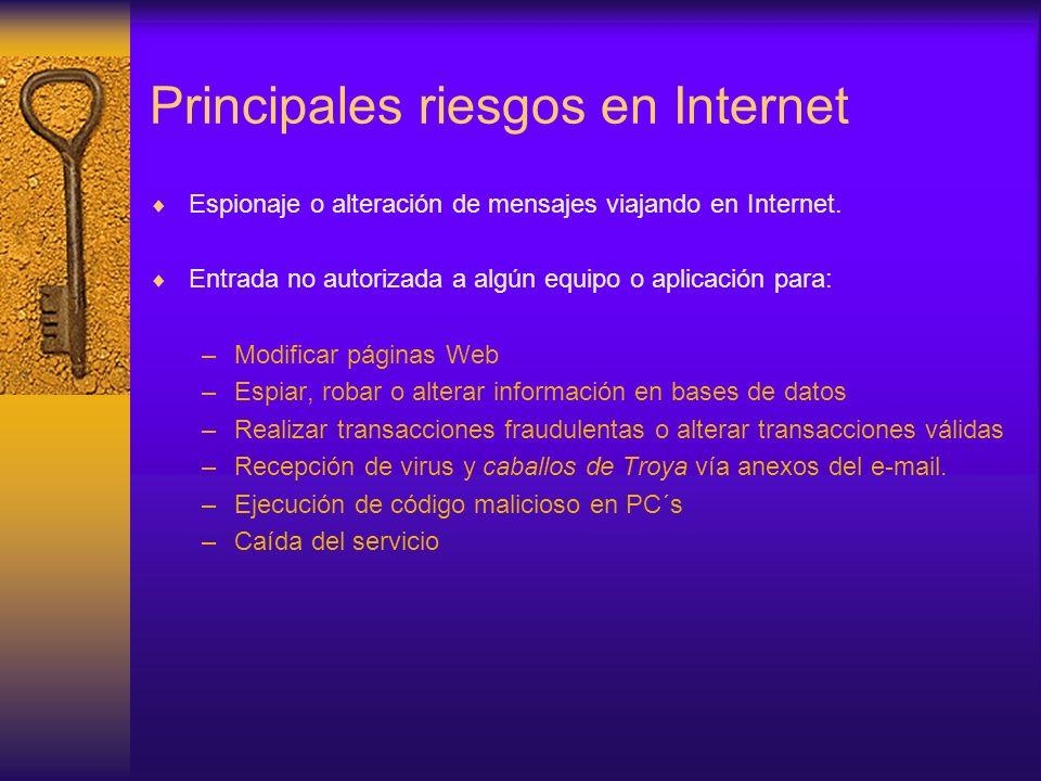 Principales riesgos en Internet Espionaje o alteración de mensajes viajando en Internet. Entrada no autorizada a algún equipo o aplicación para: –Modi