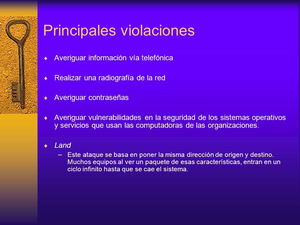 Principales violaciones Averiguar información vía telefónica Realizar una radiografía de la red Averiguar contraseñas Averiguar vulnerabilidades en la