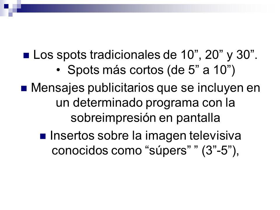 Los spots tradicionales de 10, 20 y 30. Spots más cortos (de 5 a 10) Mensajes publicitarios que se incluyen en un determinado programa con la sobreimp