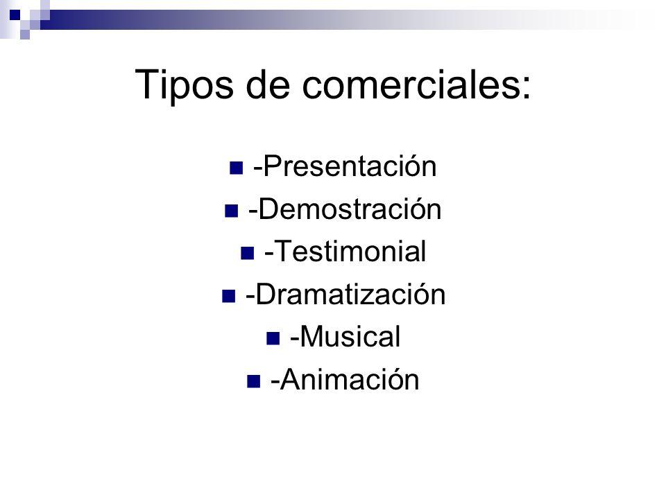 Tipos de comerciales: -Presentación -Demostración -Testimonial -Dramatización -Musical -Animación