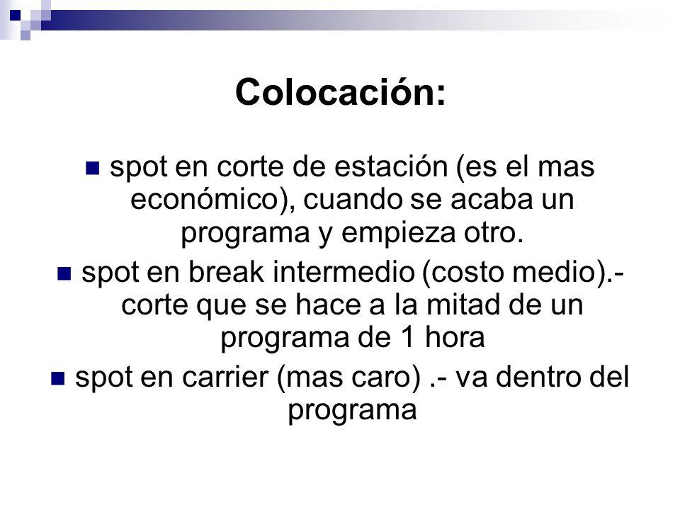 Colocación: spot en corte de estación (es el mas económico), cuando se acaba un programa y empieza otro. spot en break intermedio (costo medio).- cort