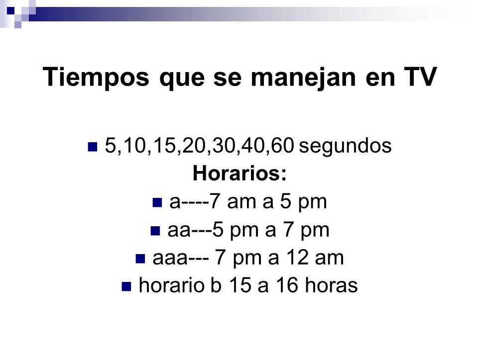 Tiempos que se manejan en TV 5,10,15,20,30,40,60 segundos Horarios: a----7 am a 5 pm aa---5 pm a 7 pm aaa--- 7 pm a 12 am horario b 15 a 16 horas