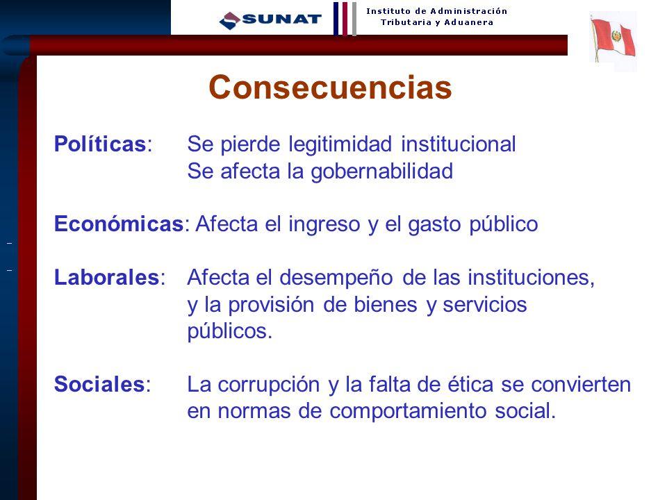 4 Consecuencias Políticas: Se pierde legitimidad institucional Se afecta la gobernabilidad Económicas: Afecta el ingreso y el gasto público Laborales: