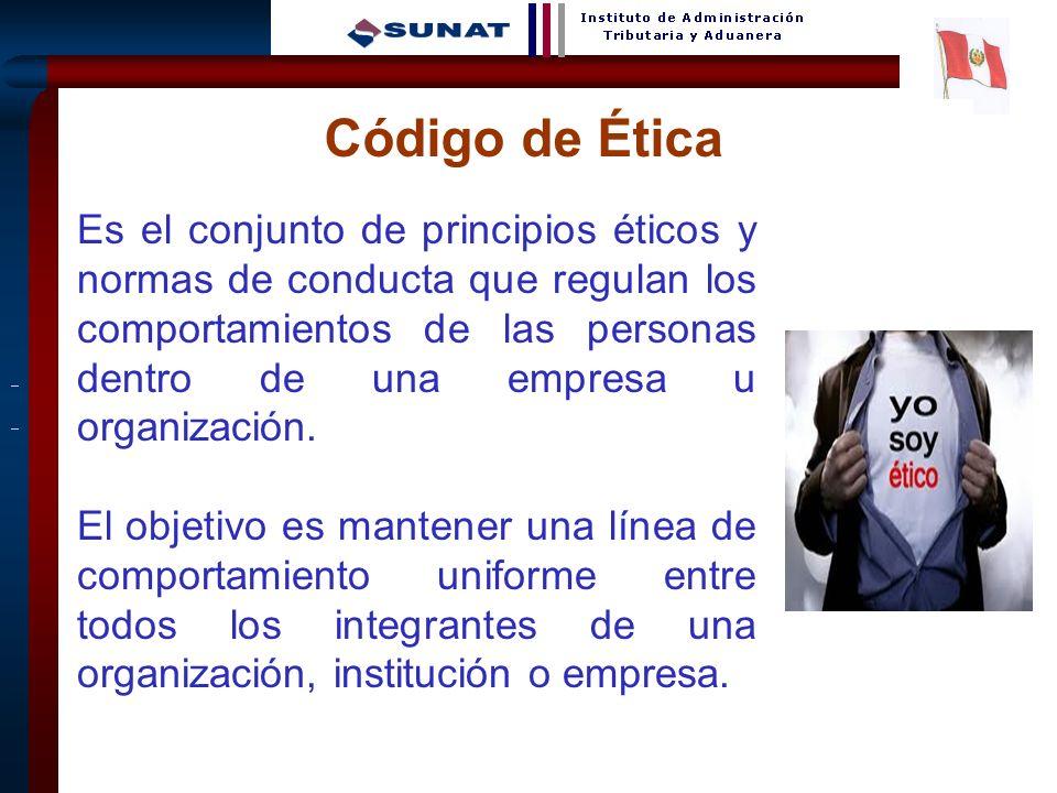 7 Código de Ética Es el conjunto de principios éticos y normas de conducta que regulan los comportamientos de las personas dentro de una empresa u org