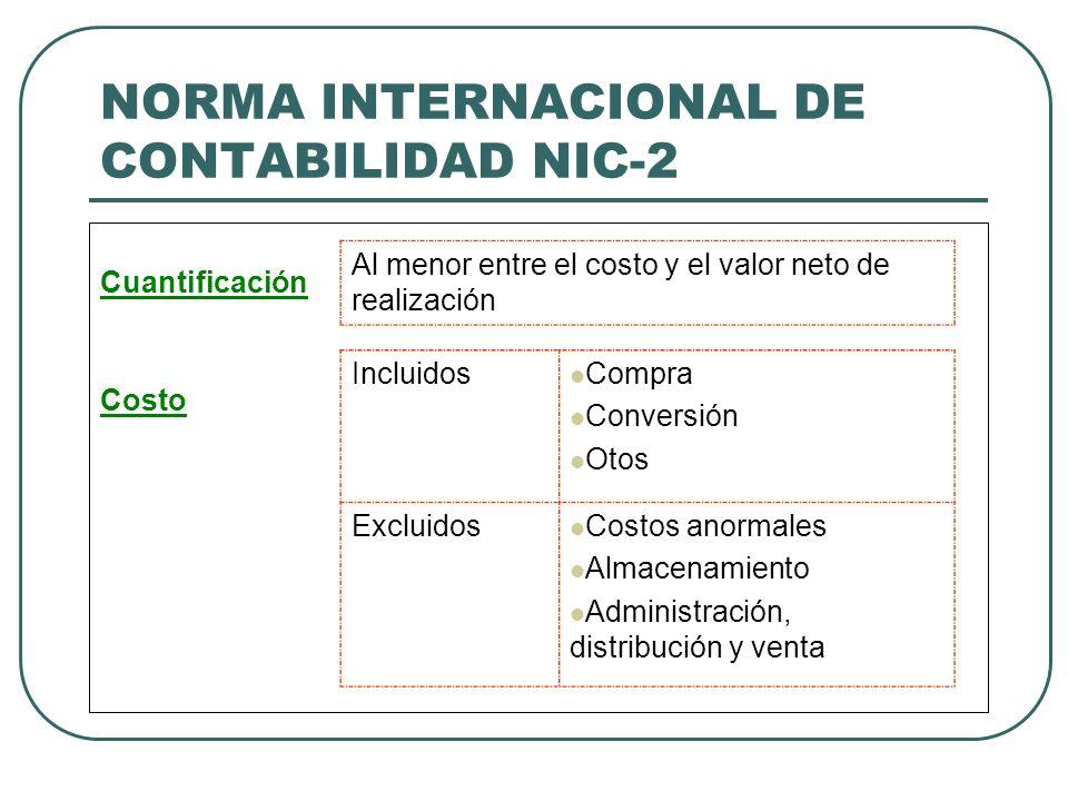 NORMA INTERNACIONAL DE CONTABILIDAD NIC-2 Cuantificación Costo Al menor entre el costo y el valor neto de realización Incluidos Compra Conversión Otos