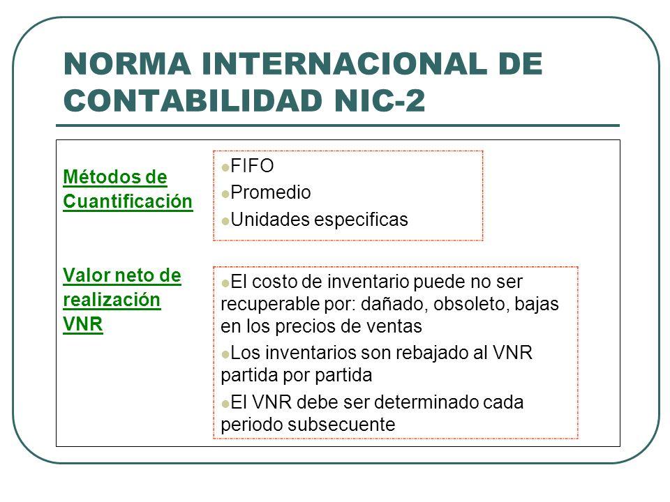 NORMA INTERNACIONAL DE CONTABILIDAD NIC-2 Métodos de Cuantificación Valor neto de realización VNR FIFO Promedio Unidades especificas El costo de inven