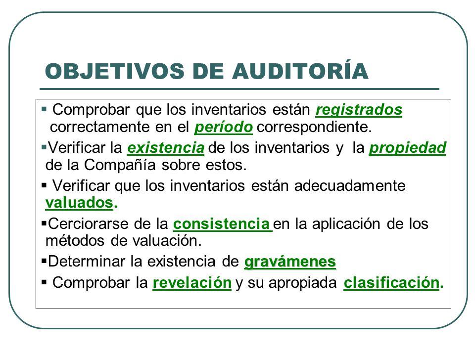 OBJETIVOS DE AUDITORÍA Comprobar que los inventarios están registrados correctamente en el período correspondiente. Verificar la existencia de los inv