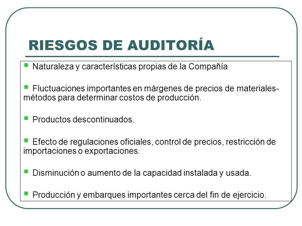 RIESGOS DE AUDITORÍA Naturaleza y características propias de la Compañía Fluctuaciones importantes en márgenes de precios de materiales- métodos para