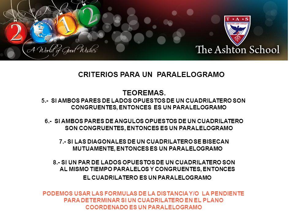 CRITERIOS PARA UN PARALELOGRAMO TEOREMAS. 5.- SI AMBOS PARES DE LADOS OPUESTOS DE UN CUADRILATERO SON CONGRUENTES, ENTONCES ES UN PARALELOGRAMO 6.- SI