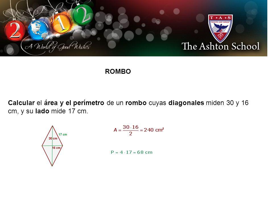 ROMBO Calcular el área y el perímetro de un rombo cuyas diagonales miden 30 y 16 cm, y su lado mide 17 cm.