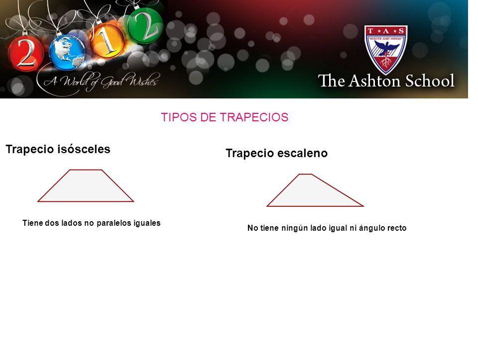 TIPOS DE TRAPECIOS Trapecio isósceles Tiene dos lados no paralelos iguales Trapecio escaleno No tiene ningún lado igual ni ángulo recto