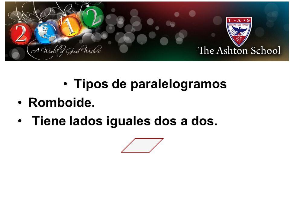 Tipos de paralelogramos Romboide. Tiene lados iguales dos a dos.