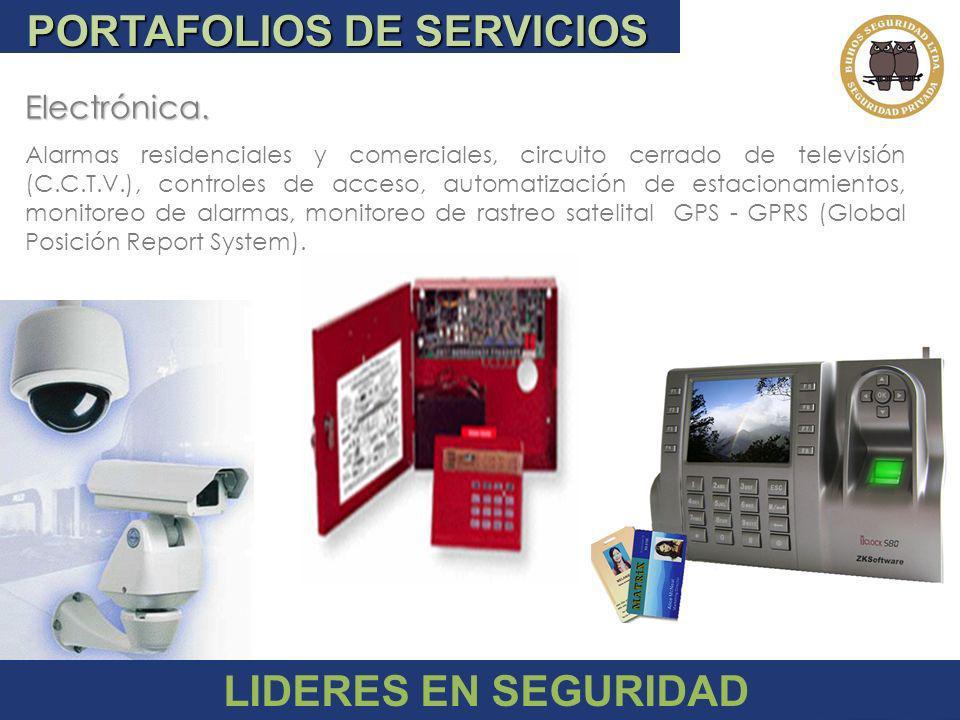 PORTAFOLIOS DE SERVICIOS Patrimonial Especialistas en Seguridad en sus diferentes categorías, -Industrial -Comercial -Residencial -Bancaria -Hotelero