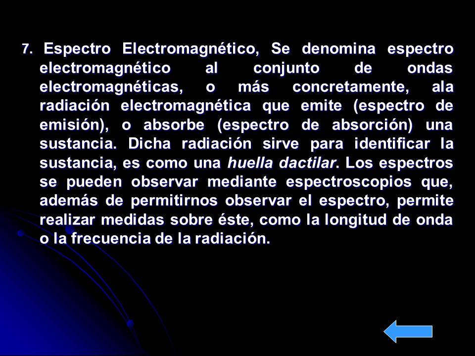 7. Espectro Electromagnético, Se denomina espectro electromagnético al conjunto de ondas electromagnéticas, o más concretamente, ala radiación electro