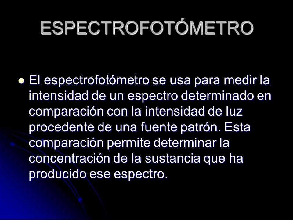ESPECTROFOTÓMETRO El espectrofotómetro se usa para medir la intensidad de un espectro determinado en comparación con la intensidad de luz procedente d