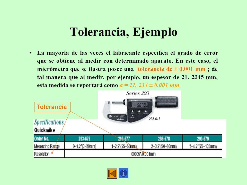 Tolerancia, Ejemplo La mayoría de las veces el fabricante especifica el grado de error que se obtiene al medir con determinado aparato. En este caso,