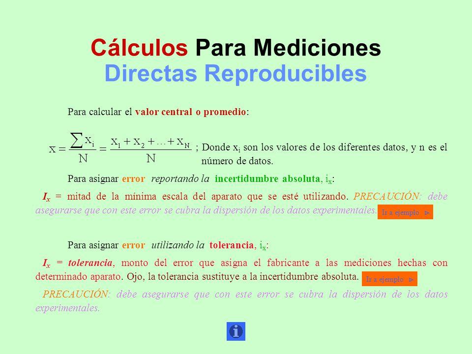 Cálculos Para Mediciones Directas Reproducibles Para calcular el valor central o promedio: ; Donde x i son los valores de los diferentes datos, y n es