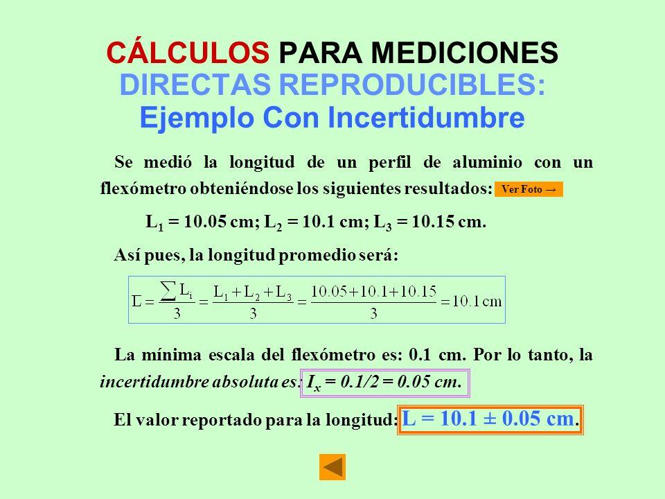 CÁLCULOS PARA MEDICIONES DIRECTAS REPRODUCIBLES: Ejemplo Con Incertidumbre Se medió la longitud de un perfil de aluminio con un flexómetro obteniéndos