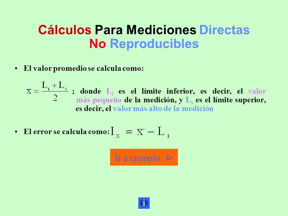 Cálculos Para Mediciones Directas No Reproducibles El valor promedio se calcula como: ; donde L i es el límite inferior, es decir, el valor más pequeñ